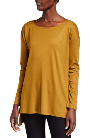 Eileen Fisher Petite Lyocell Side Slit Long-Sleeve High-Low Tunic