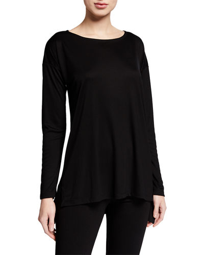 Eileen Fisher Lyocell Interlock Ballet-Neck Long-Sleeve Boxy Top