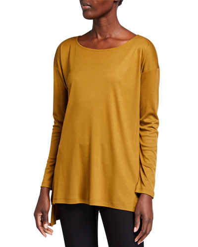 Lyocell Side Slit Long-Sleeve High-Low Tunic
