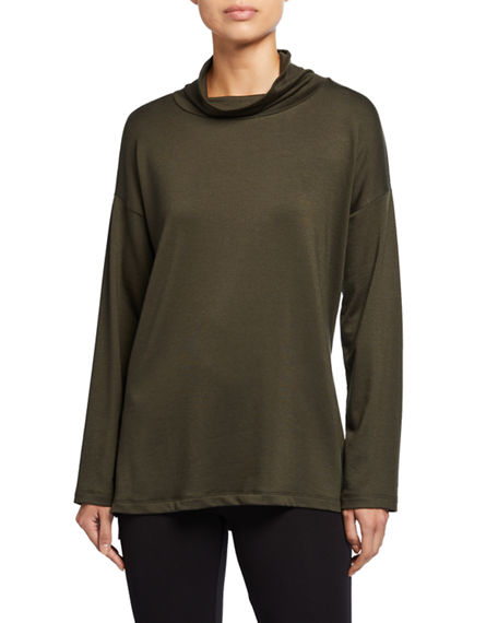 Eileen Fisher Stretch Terry Funnel-Neck Long-Sleeve Side-Slit Tunic