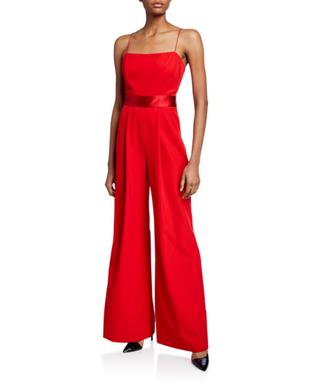 Milly Reina Sleeveless Tie-Back Wide-Leg Jumpsuit