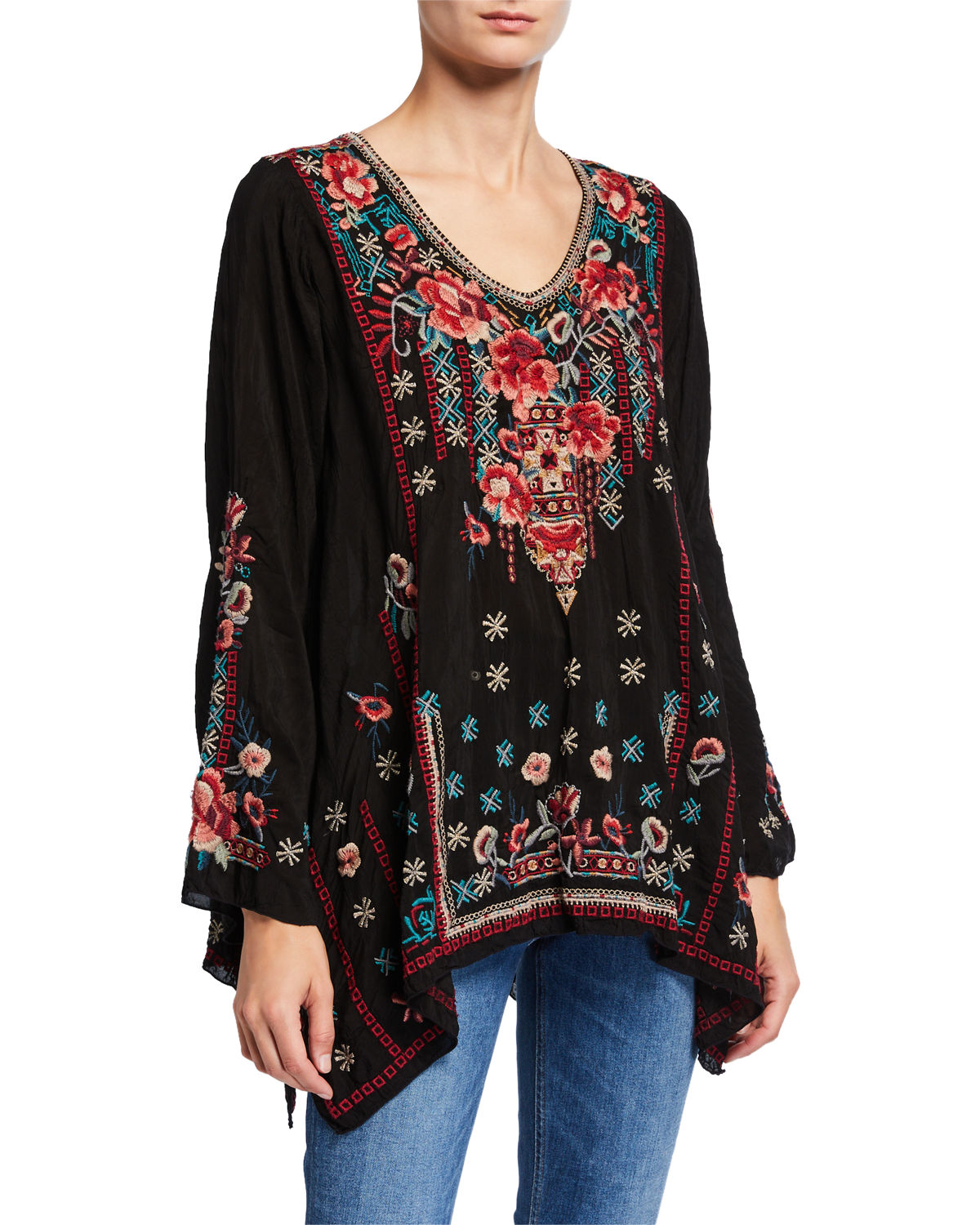 Johnny Was Tops DULCI V-NECK ASYMMETRIC TUNIC W/ MULTI MEDIA EMBROIDERY