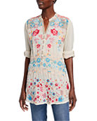 Johnny Was Plus Size Bandit Multi Embroidered Button-Front