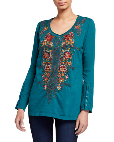Plus Size Zaret Button-Sleeve Embroidered Front Tee