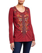 Johnny Was Zaret Button-Sleeve Embroidered Front Tee