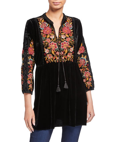Johnny Was Zaret Embroidered Velvet Tunic w/ Mandarin Collar