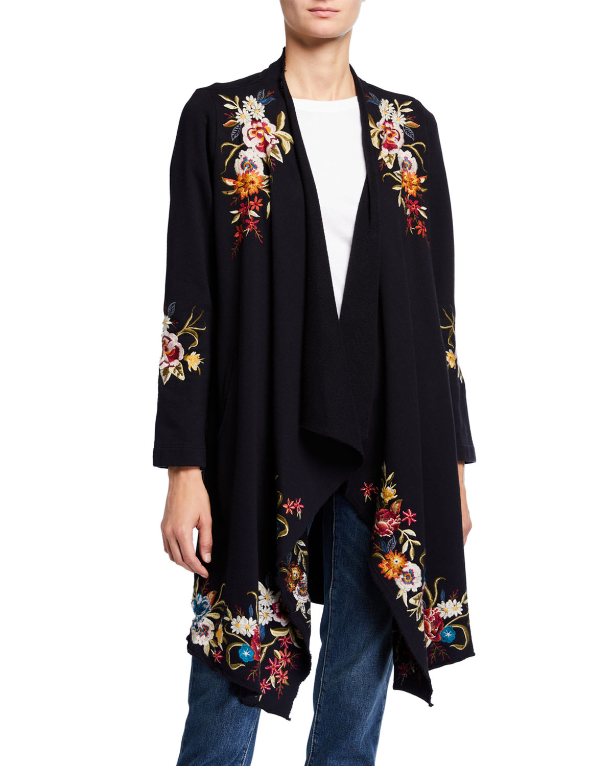 Johnny Was Tops ISLA FLORAL EMBROIDERED DRAPED CARDIGAN