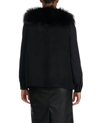 Gorski Fox Fur Wool Back Vest