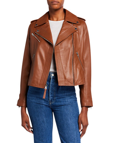 Fitted Lamb Leather Moto Jacket
