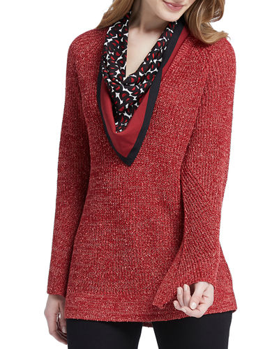 Explorer V-Neck Marled Sweater Top with Printed Scarf
