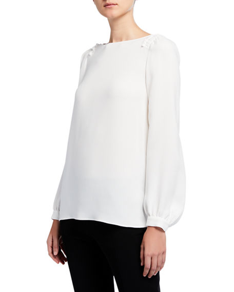 Lafayette 148 New York Albright Long-Sleeve Silk Double Georgette Blouse
