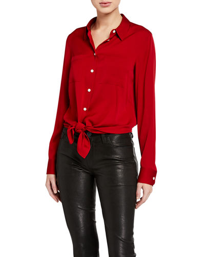 Tie-Front Core-Stretch Shirt