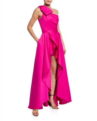 Jay Godfrey Tany Satin One-Shoulder Bow-Front Romper w/ Removable Overskirt
