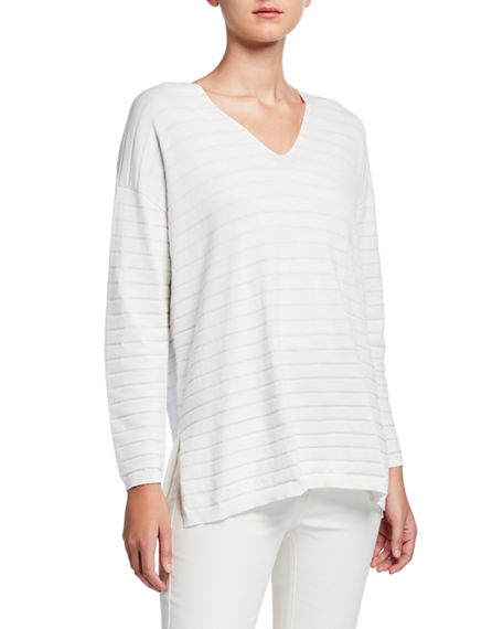 Lafayette 148 New York Striped Matte Crepe V-Neck Pullover Sweater with Lurex