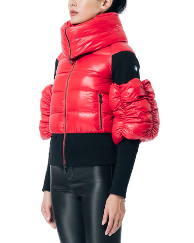 Obscure Folded-Collar Puffer-Sleeve Jacket