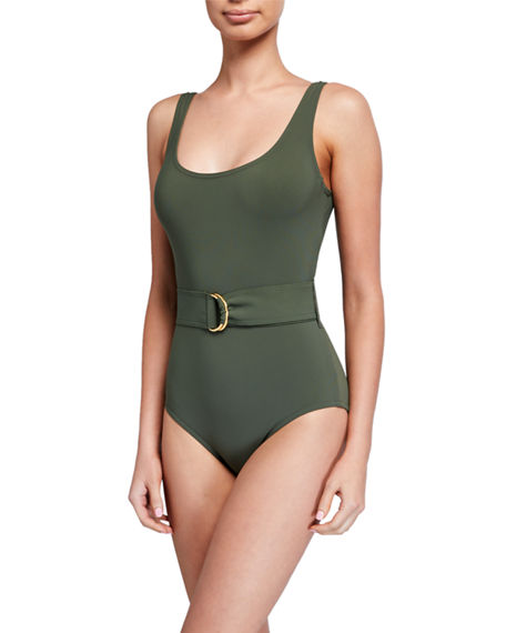 Karla Colletto Angelina Scoop-Neck Underwire Belted One-Piece Swimsuit