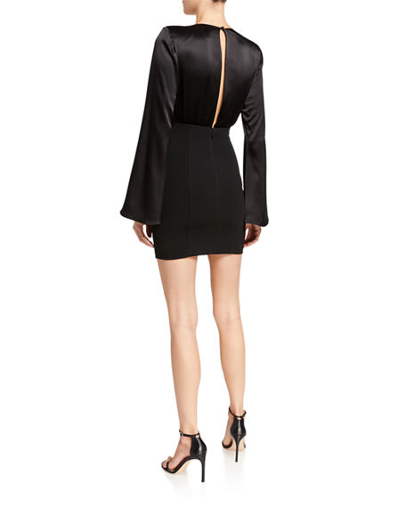 Image 2 of 2: cinq a sept Sandy Plunging Flare-Sleeve Short Dress