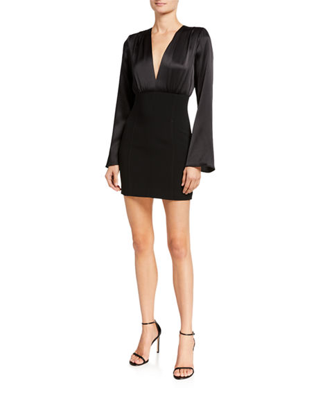 Image 1 of 2: cinq a sept Sandy Plunging Flare-Sleeve Short Dress