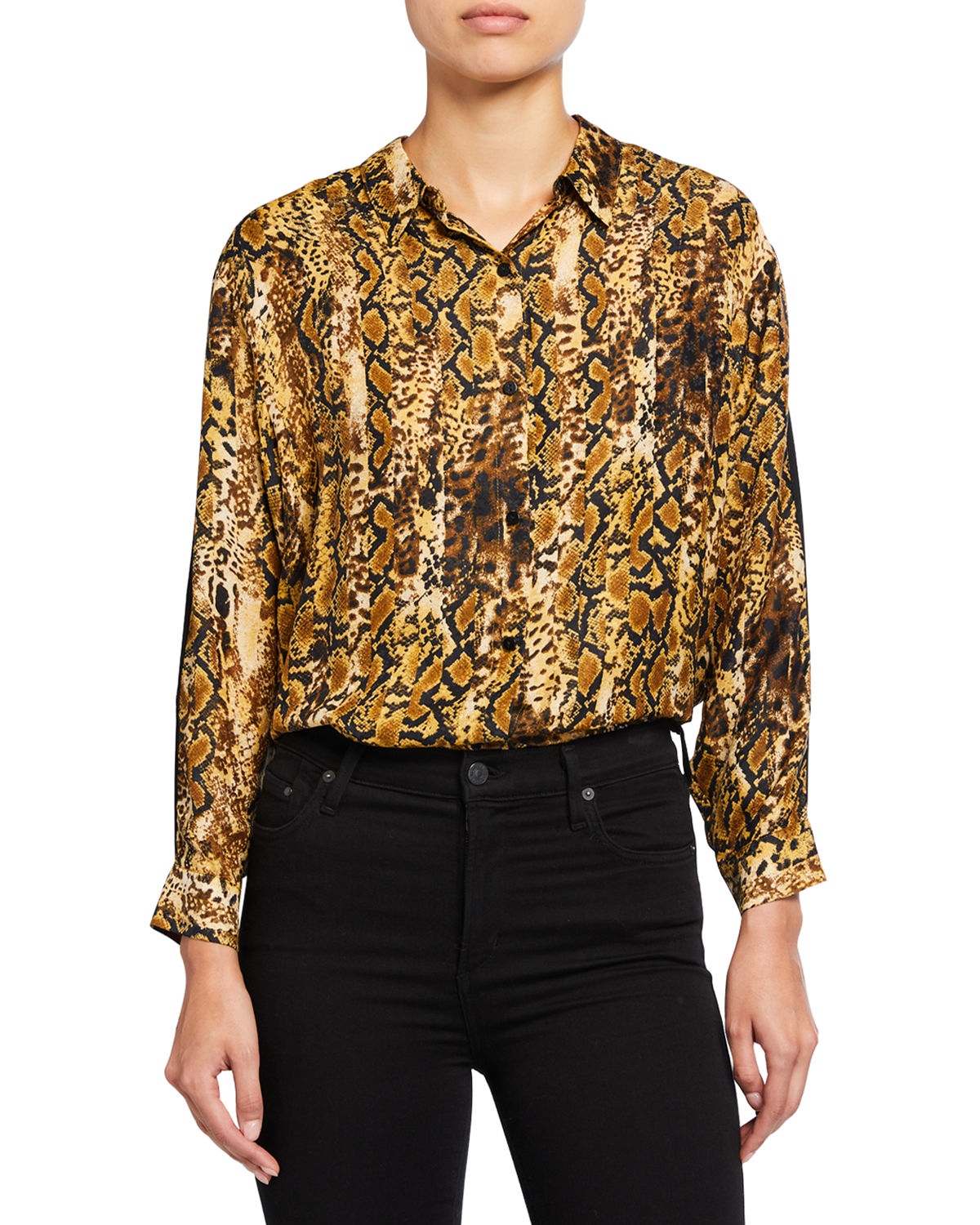 Susie Animal-Print Button-Down Top