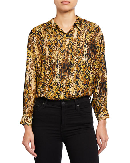 ba&sh Susie Animal-Print Button-Down Top