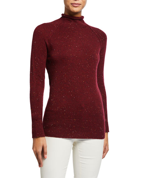 Theory Karinella Cashmere Donegal Knit Turtleneck Sweater