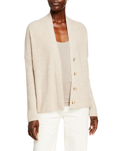 Ribbed Button-Front Wool-Blend Cardigan