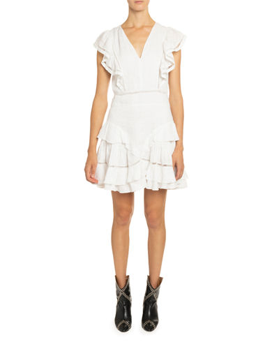 Etoile Isabel Marant Audrey Linen Ruffle-Tiered Dress
