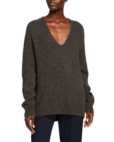 V-Neck Panel Back Cashmere Tunic