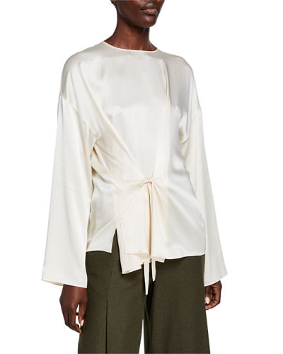 Knot Front Long-Sleeve Silk Blouse