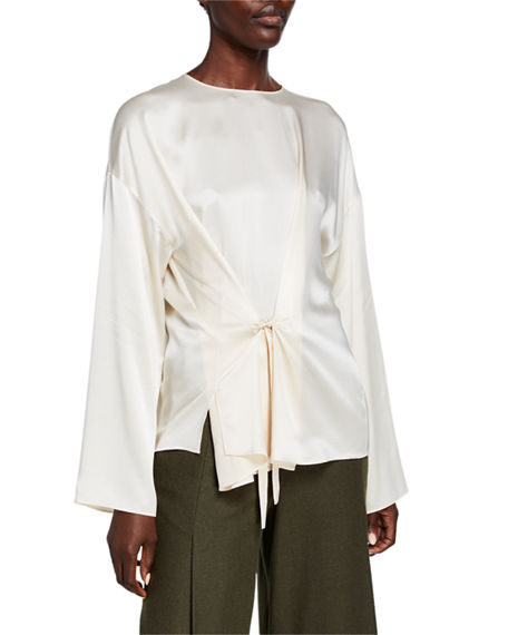 Vince Knot Front Long-Sleeve Silk Blouse