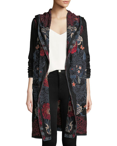 Petite Bella Hooded Open-Front Embroidered Cardigan
