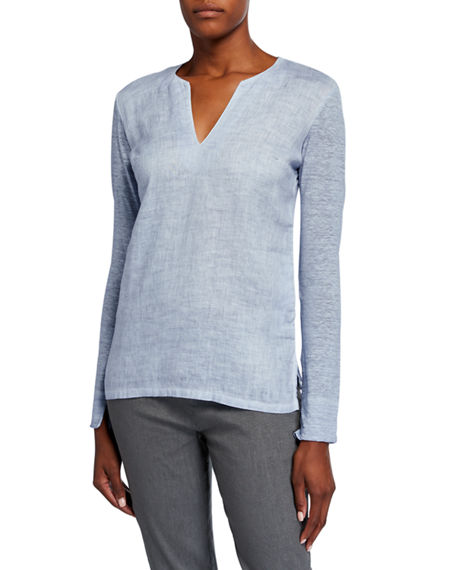 120% Lino V-Neck Long-Sleeve Jersey Back Woven Top