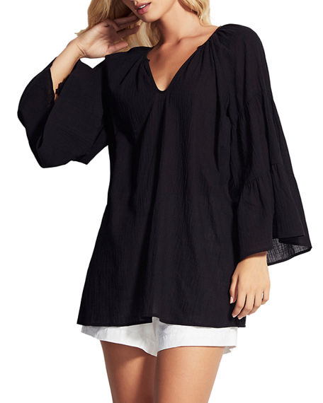 Seafolly Tiered-Sleeve Coverup Tunic