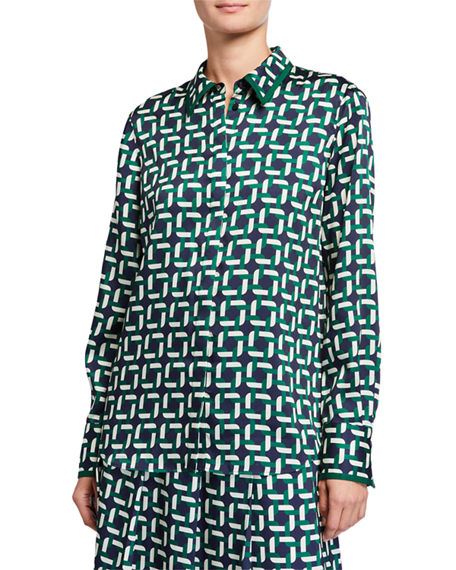 Lafayette 148 New York Julianne Geo Link Print Button-Down Twill Blouse