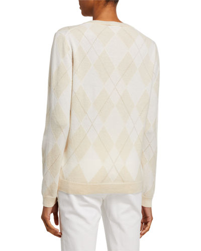 Lafayette 148 New York Argyle Cashmere Sweater with Metallic