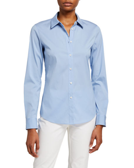 Lafayette 148 New York Montego Italian Stretch Cotton Button-Down Blouse