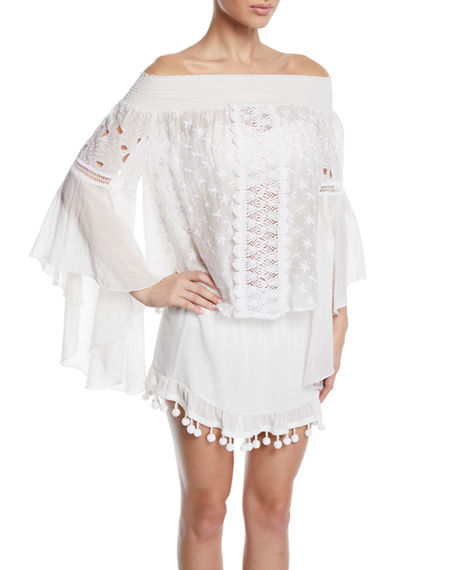 Ramy Brook ELSIE EMBROIDERED LONG-SLEEVE COVERUP TOP