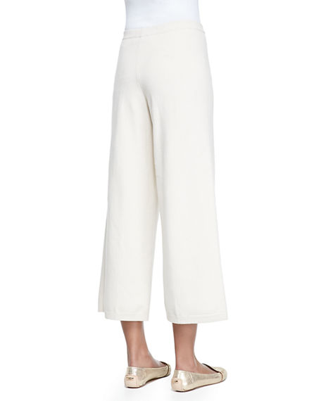 Image 4 of 4: Joan Vass Plus Size Silk-Cashmere Wide-Leg Pants