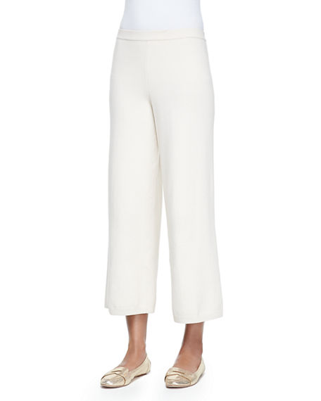Image 1 of 4: Joan Vass Plus Size Silk-Cashmere Wide-Leg Pants