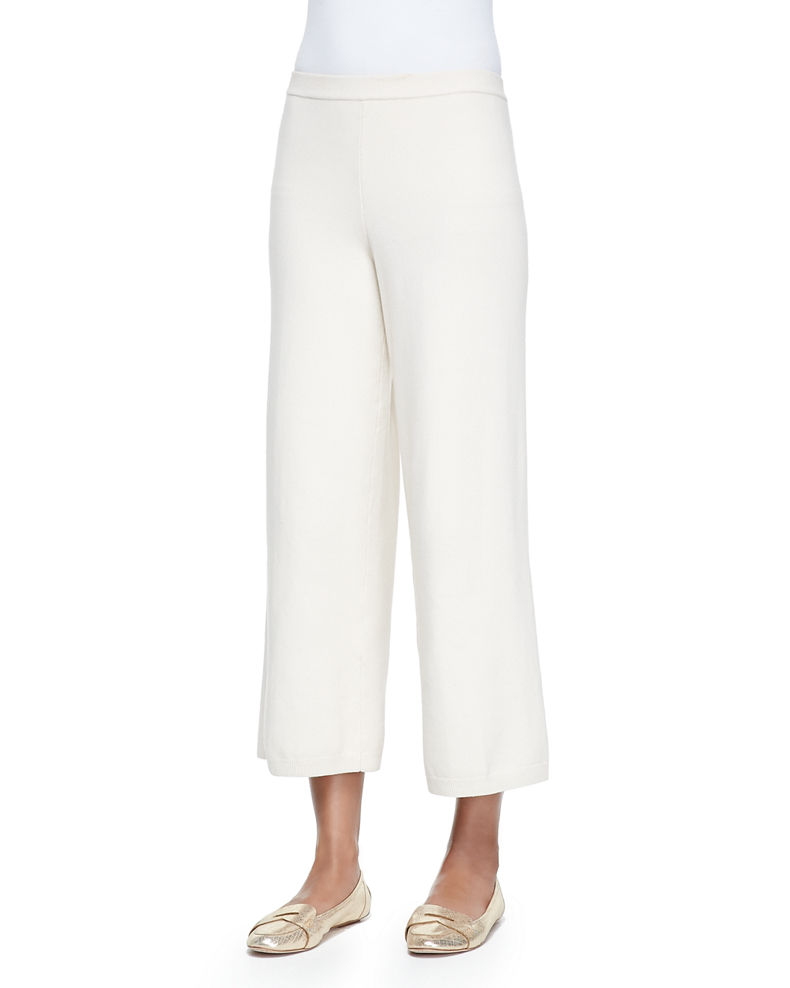 Joan Vass Plus Size Silk-Cashmere Wide-Leg Pants