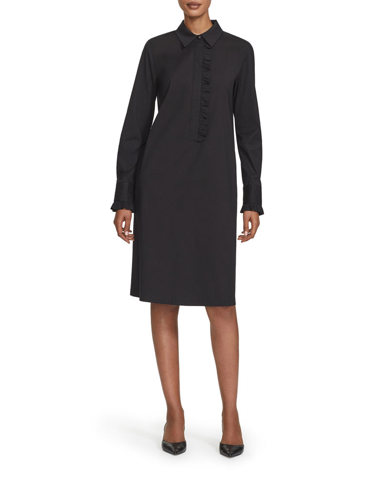 Lafayette 148 New York Fiona Long-Sleeve Ruffle-Trim Stretch Cotton Dress