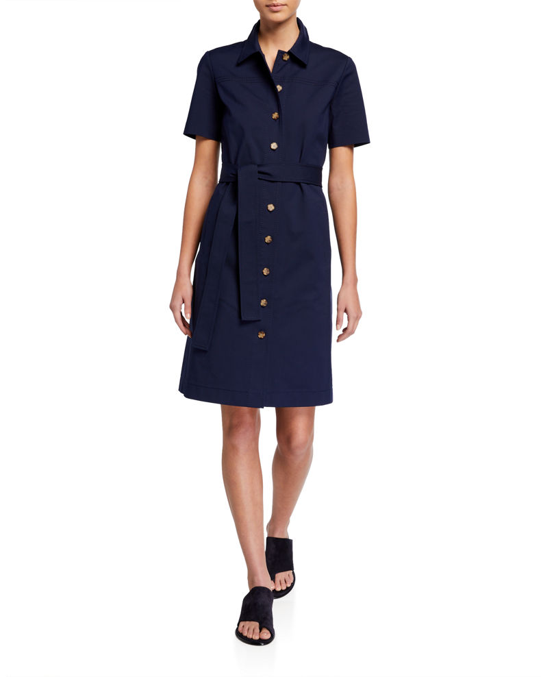 Lafayette 148 New York Kylie Button-Front Fundamental Bi Stretch Dress
