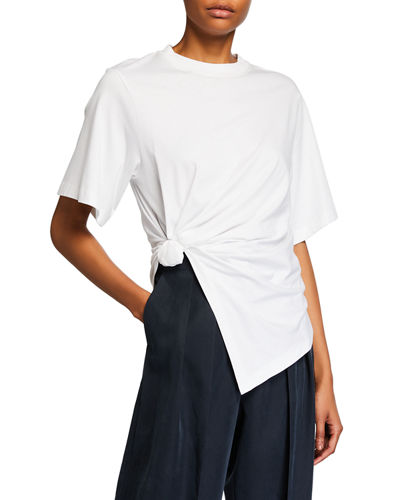 Knotted Cotton Crewneck Tee