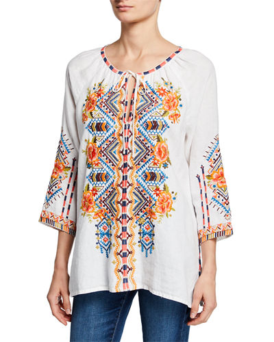 Sentrie Scoop-Neck 3/4-Sleeve Embroidered Linen Peasant Blouse