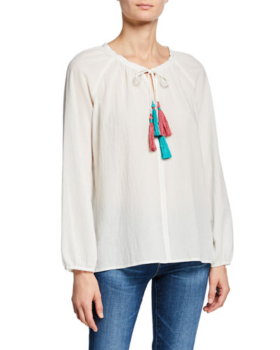 Double-Tassel Long-Sleeve Cotton Peasant Blouse