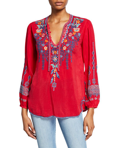 Chelsee Embroidered V-Neck Long-Sleeve Georgette Blouse