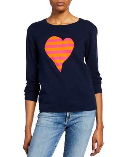 Plus Size Fool For Love Striped Heart Long-Sleeve Cotton Sweater