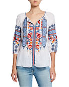 Johnny Was Dani Embroidered Split-Neck 3/4-Sleeve Linen Peasant
