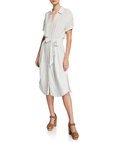 Joie Chellie Striped Short-Sleeve Shirtdress