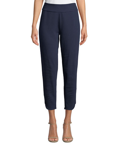 Stretch-Interlock Cropped Pants with Notched Hem